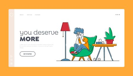 Family Relations, Divorce and Marriage Crisis Landing Page Template. Unhappy Sad Female Character Sitting in Living Room
