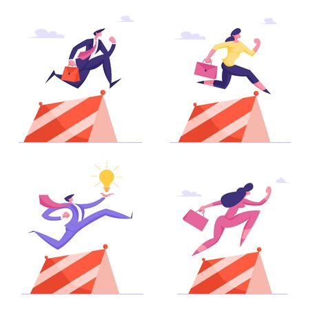 Business People Characters Holding Briefcase and Light Bulb Jump over Obstacles, Running Sprint Race with Barrier. Leadership, Successful Leader Competition, Challenge. Cartoon Vector Illustration