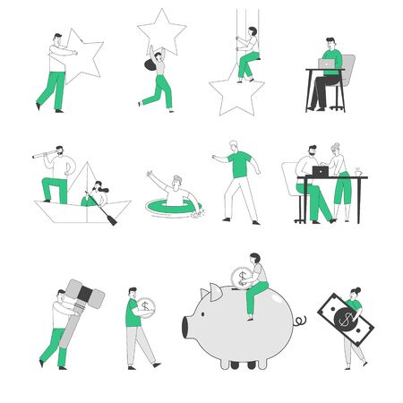 Set of Tiny Male and Female Business People Holding Huge Rating Stars, Working in Office and Floating on Boat. Characters Collect Money to Piggy, Look to Spyglass Bank. Linear Vector Illustration