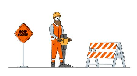 Builder Character with Pneumatic Jackhammer Drill Breaking Asphalt, Road Work on Construction Site Fenced with Warning Sign. Highway Maintenance, Worker Remove Old Pavement. Linear Vector Illustration