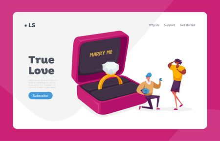 Love, Engagement and Marriage Landing Page Template. Man Stand on Knee with Ring in Box Making Proposal to Woman Ask her Marry him. Characters in Loving Relations. Cartoon People Vector Illustration