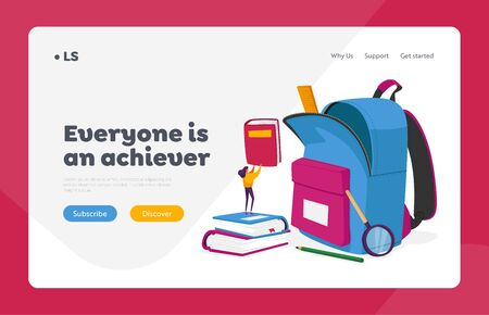 Learning, Back to School Landing Page Template. Tiny Female Character Put Textbooks in Huge Backpack with Educational Tools. Studying, Education in College or University. Cartoon Vector Illustration 일러스트