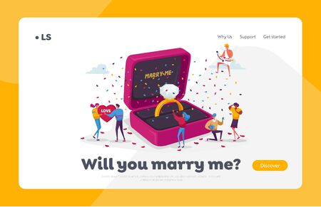 Characters Romantic Proposal Landing Page Template. Men Asking Women to Marry Standing on Knee at Huge Engagement Ring. Love Relationship Marriage, Valentines Day. Cartoon People Vector Illustration