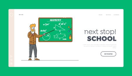 School or College Education, Class, Knowledge Landing Page Template. Teacher Character with Pointer Explain Geometry Lesson at Blackboard with Formulas Written with Chalk. Linear Vector Illustration