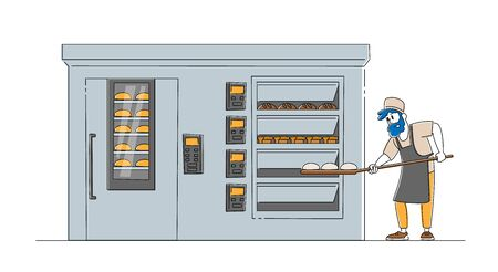 Bakery Factory and Bread Production Concept. Baker Male Character Put Raw Loafs to Huge Oven for Baking. Worker Cooking Baked Food on Modern Confectionery Manufacture. Linear Vector Illustration