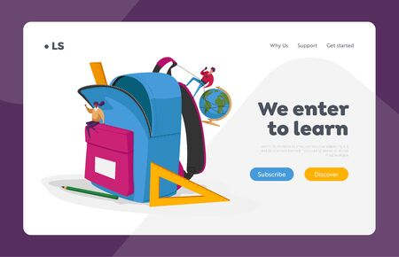 Back to School, Education Landing Page Template. Characters Put Huge Accessories into Pupil Backpack. People Sitting on Rucksack with Pencil, Straightedge, Globe. Cartoon People Vector Illustration