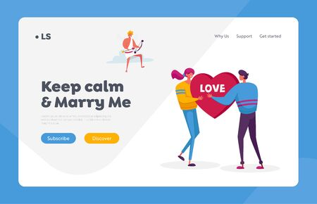 Fall in Love Landing Page Template. Man Ask Woman to Marry. Young Characters Share Huge Red Heart Pierced. Cheerful Cupid Sitting on Cloud in Sky with Bow Aiming to People. Cartoon Vector Illustration Illusztráció
