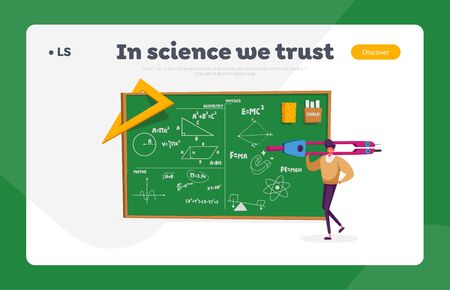 Education Landing Page Template. Tiny Teacher Male Character Holding Huge Compass Stand at Green Chalkboard with Geometry and Physics Formulas, Ruler, Sponge and Chalk. Cartoon Vector Illustration Illustration