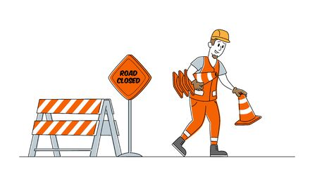 Roadwork and Asphalt Paving Concept. Worker Man Character in Orange Overall Put Traffic Cones and Warning Road Closed Sign, Construction Industry, Highway Maintenance. Linear Vector Illustration