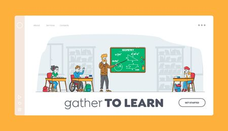 Kids on Lesson Landing Page Template. Children Characters with Teacher in Classroom. Disabled Boy in Wheelchair Sitting at Desk in Class. Education, Back to School. Linear People Vector Illustration