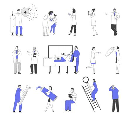 Set of Male and Female Doctors and Patients Characters in Hospital, Vaccination and Concilium, Injured Man in Clinic Chamber. Nurse with Test Tube Dentist with Drill. Linear People Vector Illustration Çizim