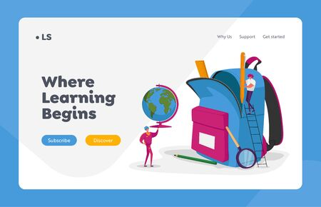 College Education Landing Page Template. Tiny Characters Put School Stationery and Learning Equipment to Huge Rucksack. Man Carry Globe, Woman on Ladder Hold Pencil. Cartoon People Vector Illustration