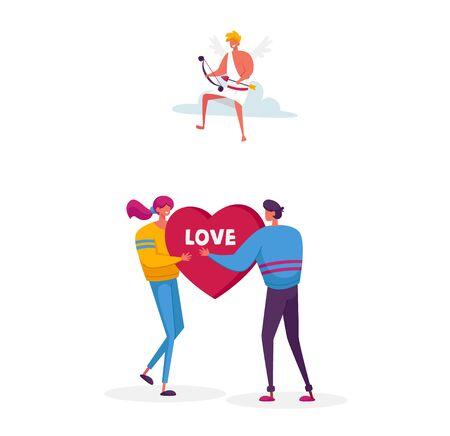 Man Ask Woman to Marry. Fall in Love Concept. Young Male Female Characters Share Huge Red Heart Pierced. Cheerful Cupid Sitting on Cloud in Sky with Bow Aiming to People. Cartoon Vector Illustration Illusztráció