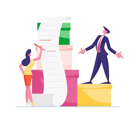 Business Man and Woman Characters with Huge Heap of Paper Documents