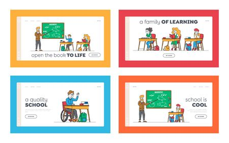 Kids on Lesson Landing Page Template Set. Children Characters with Teacher in Classroom. Disabled Boy in Wheelchair Sit at Desk in Class. Education, Back to School. Linear People Vector Illustration