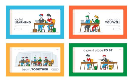 Higher Education Landing Page Template Set. Students Sitting at Desks Visit Lecture in University. Characters Learning, Communicate, Sleep on Seminar, People Gain Knowledge. Linear Vector Illustration