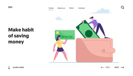 Business People Put Money in Huge Purse Landing Page Template. Tiny Man and Woman Characters Holding Huge Credit Card and Paper Currency Bill. Savings, Cash in Wallet. Cartoon Vector Illustration 向量圖像