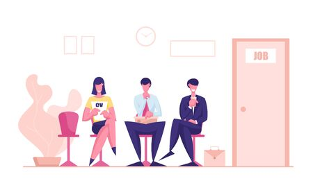 Young Men and Woman Candidates Characters with Cv Sitting on Chairs in Waiting Room Setting Mind Up Before Job Interview Ilustrace