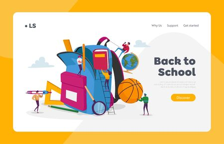 Back to School, Education Landing Page Template. Tiny Characters Put in Huge Backpack Educational Tools, Stationery Ball, Globe and Book for Different Disciplines. Cartoon People Vector Illustration 向量圖像