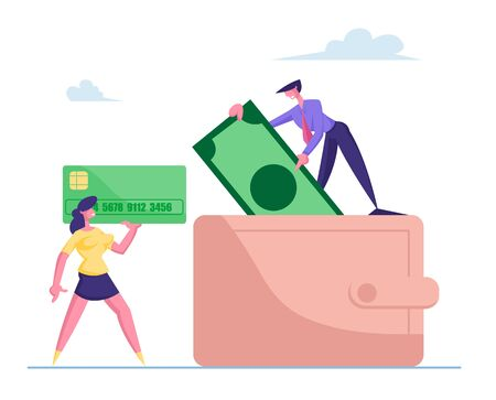 Successful Business People Put Money in Huge Purse. Tiny Man and Woman Characters Holding Huge Credit Card and Paper Currency Bill. Savings, Cash in Wallet Concept. Cartoon Vector Illustration