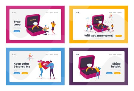 Characters Romantic Proposal Landing Page Template Set. Men Ask Women to Marry Standing on Knee at Huge Engagement Ring. Love Relationship Marriage, Valentines Day. Cartoon People Vector Illustration