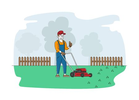 Man Character Mow Lawn in Garden or Public City Park. Gardener, Cottager or Worker Use Lawn Mower Machine