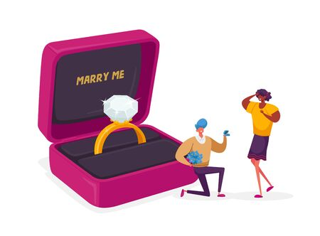 Man Standing on Knee Holding Ring in Box Making Proposal to Woman Asking her Marry him. Love, Engagement and Marriage