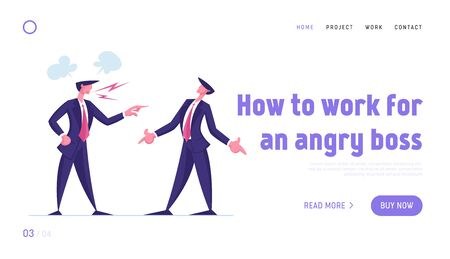 Businessman Worker in Stress Situation Landing Page Template. Angry Furious Boss Character Yelling at Male Employee Scolding for Incompetent Work Bullying in Office. Cartoon People Vector Illustration