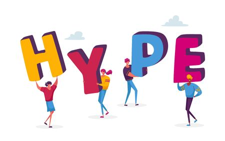 Tiny Male and Female Characters Holding Huge Letters Making Word Hype. Concept of Viral Internet Content Illustration