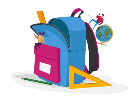 Back to School, Education Concept, Male and Female Characters Put Huge Accessories into Pupil Backpack Ilustracja