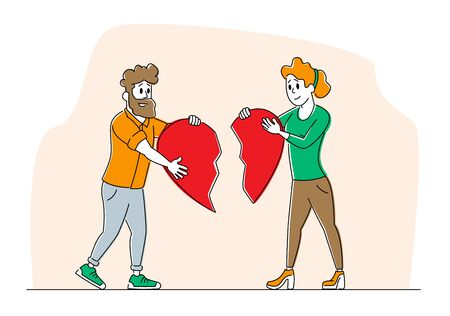 Heartbroken Couple Parting, Divorce. Man and Woman Characters Trying to Put Together Parts of Broken Heart
