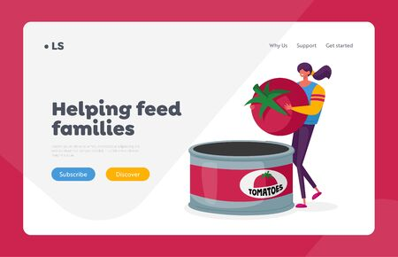 Canned Food Landing Page Template. Female Character on Canning Factory Put Fresh Tomato in Tinned Container