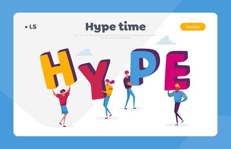 Viral Internet Content, Hype Landing Page Template. Tiny Characters Hold Huge Letters Making Word Hype