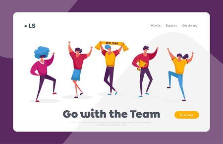 Teamwork, Victory Landing Page Template. Successful Business Team Characters Stand in Row Posing with Winners Trophies