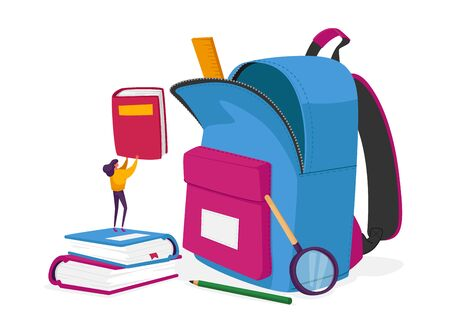 Tiny Female Character Put Textbooks in Huge Backpack with Educational Tools and Equipment. Studying, Learning