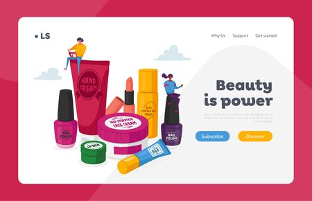Makeup Courses, Make Up School Landing Page Template. Women Spend Time in Beautician Parlor