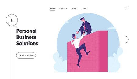 Teamwork, Mutual Assistance Landing Page Template. Business Leader Character Help Colleague Climb on High Wall