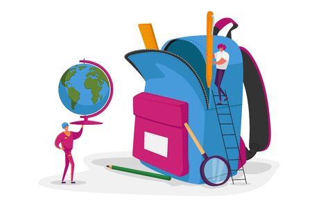 Tiny Male Female Characters Put School Stationery and Learning Equipment to Huge Rucksack. Man Carry Globe