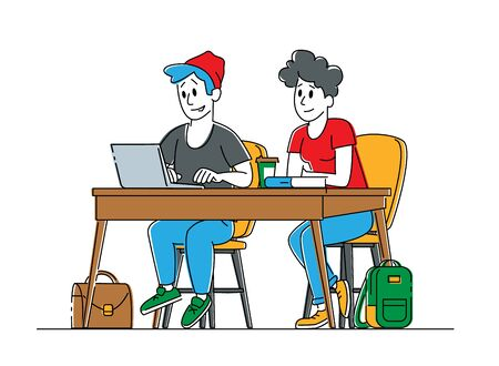 Couple of Young Male and Female Students Characters Sitting at Desk in Classroom Listening and Writing Lecture