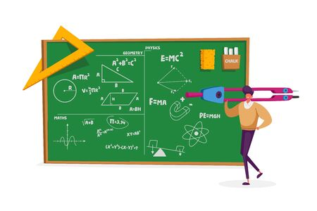 Tiny Teacher Male Character Holding Huge Compass Stand at Chalkboard with Geometry and Physics Formulas Illustration