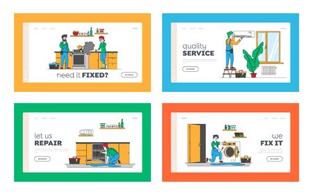 Repair Service Husband for an Hour Landing Page Template Set. Male Characters in Uniform Fixing Broken Technics at Home