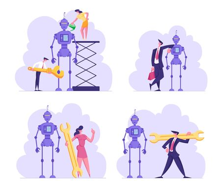 Set Cyborg Creating Process. Engineers or Business People Characters Set Up Huge Robot. Woman with Oiler