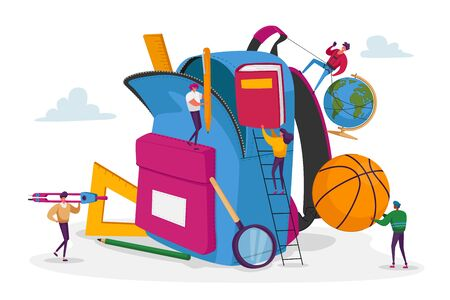 Tiny Male and Female Characters Put in Huge Backpack Educational Tools, Stationery Ball, Globe and Book