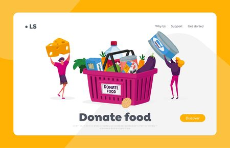 Characters Bringing Foodstuffs for Collecting Donation Box Landing Page Template. Volunteers Prepare Food to Poor