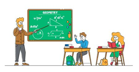 School Kids Boy and Girl Sitting at Desk in Classroom Studying. Schoolboy Raising Hand to Answer Lesson in Class