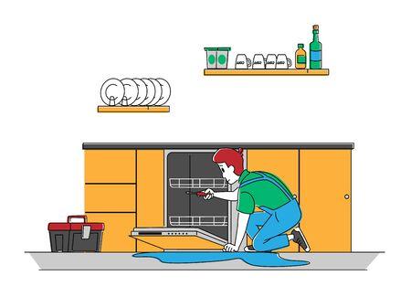 Handyman Character in Uniform Fixing Broken Dishwasher Technics at Home. Husband for an Hour Repair Service