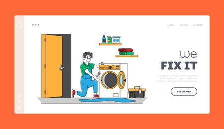 Husband for an Hour Repair Service Landing Page Template. Male Character in Uniform Work with Instruments