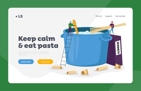 Tiny Men Cooking Pasta Landing Page Template. Characters Put Spaghetti in Huge Pan with Boiling Water Stand on Ladder
