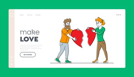 Heartbroken Couple Parting, Divorce Landing Page Template. Man and Woman Characters 向量圖像