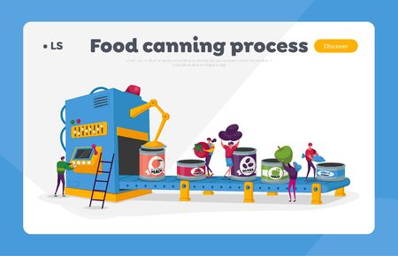 Canning Factory Working Process Landing Page Template. Canned Fruits and Vegetables 向量圖像